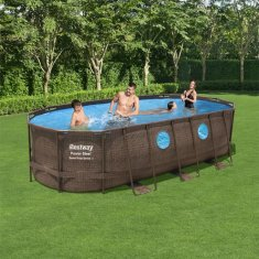 Bestway Power Steel 5,49x2,74x1.22m oval pool inkl patronfilterpump, stege och poolskydd