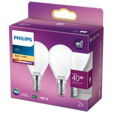 2-pack LED E14 Klot 40W Frost