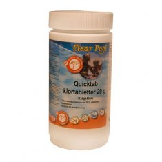 Poolkemi Clear Pool Quicktab Klortabletter 20g 1Kg Dagsklor
