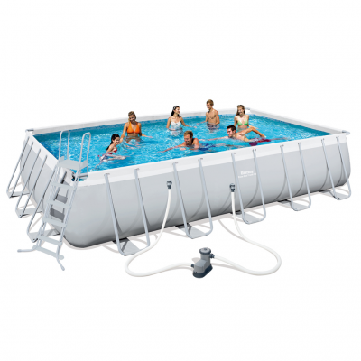 Bestway Power Steel Rektangulär Pool Set Stålram 671x366x132cm 56470